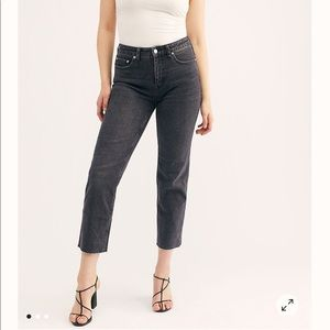 Free People CRVY High Rise Washed Black Straigh…